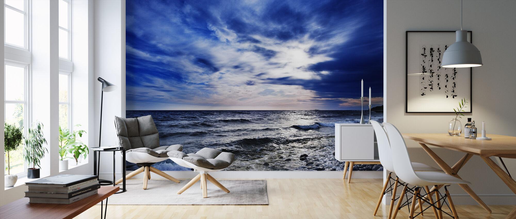Blå vågor av Torö, Sverige - Tapet - Vardagsrum