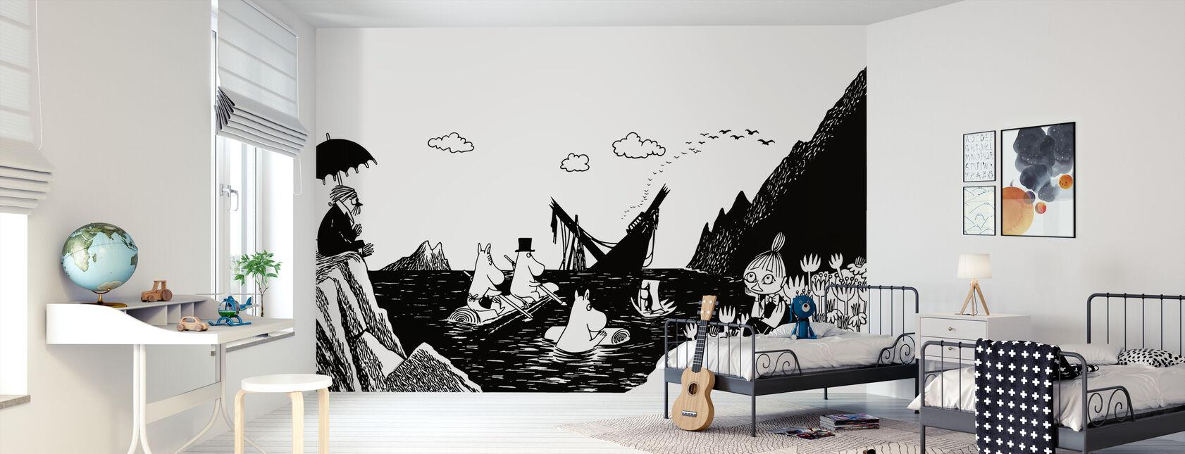 Mumin - Schnorchelmädchen in einem Boot - Tapete - Kinderzimmer
