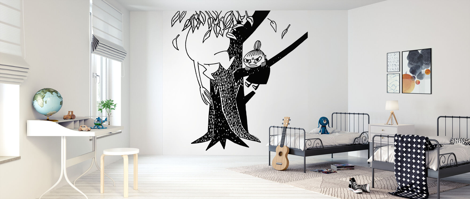 Moomin and Little My Climbing a Tree - Wallpaper - Kids Room