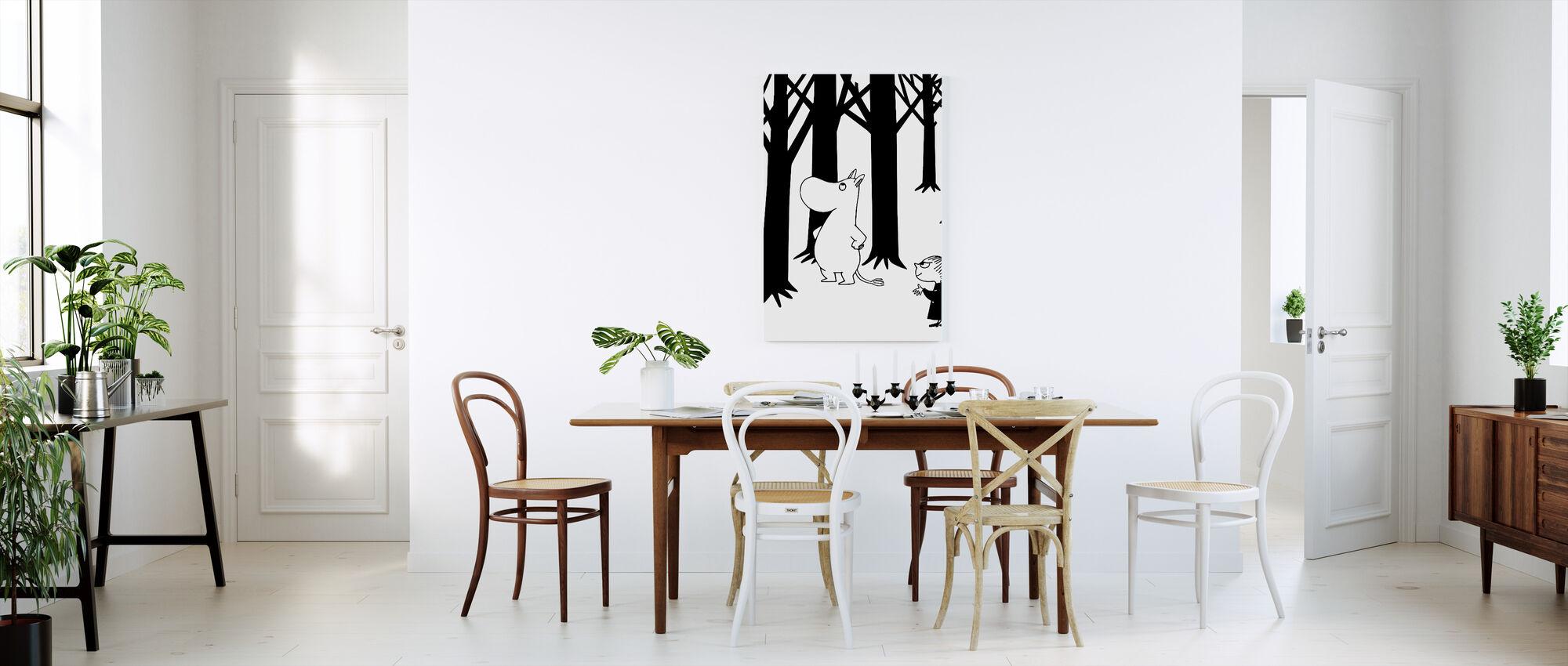 Mumin og Lille My i en skov - Billede på lærred - Køkken