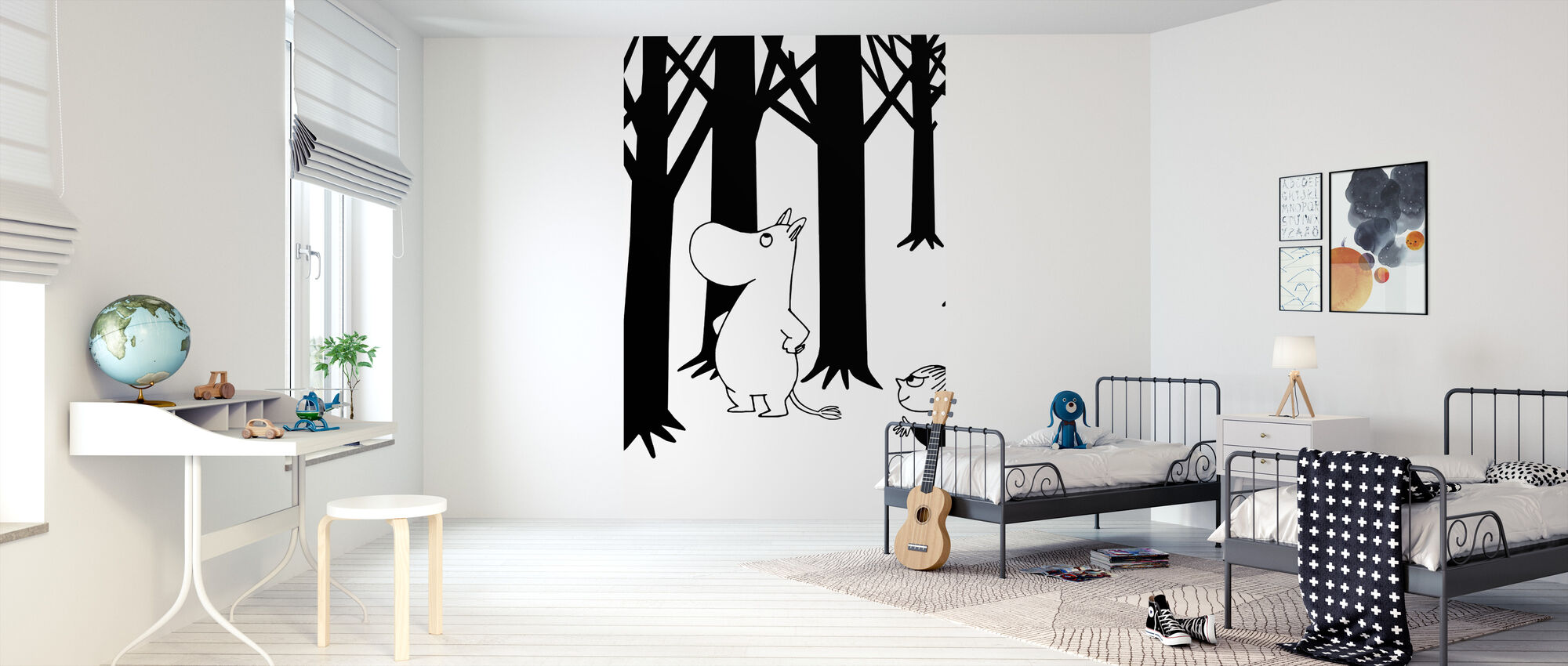 Mumin och Little My i en skog - Tapet - Barnrum