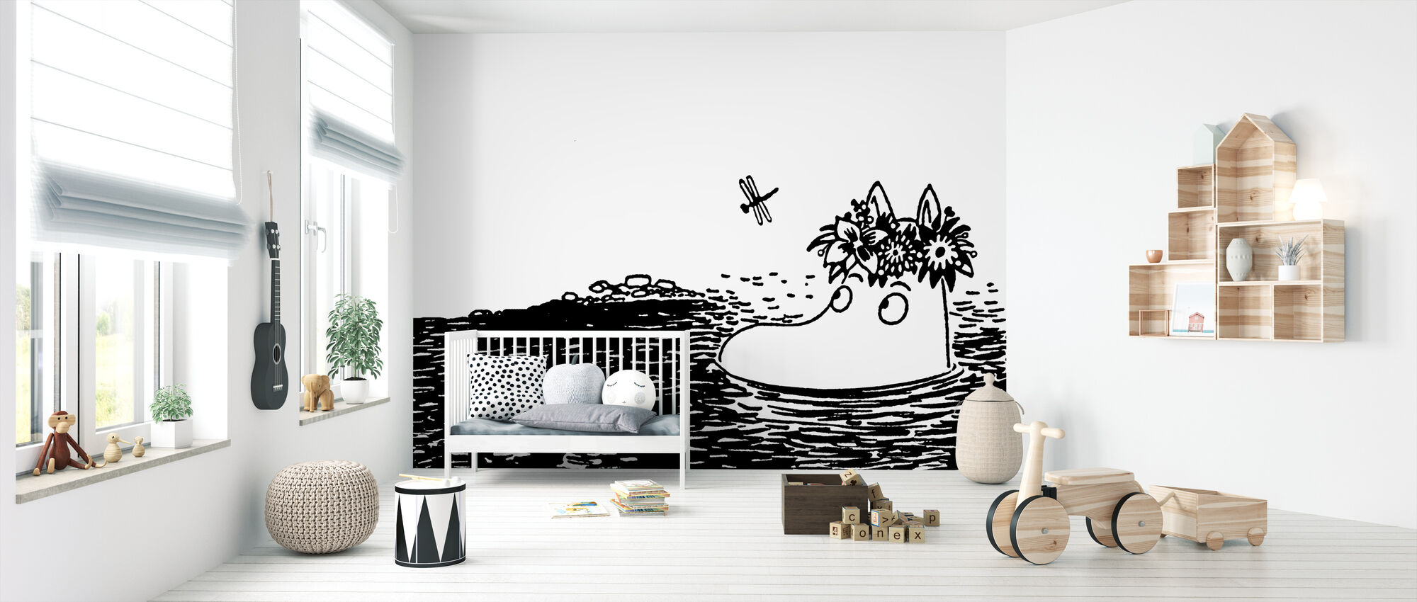 Moomin Contemplating - Wallpaper - Nursery