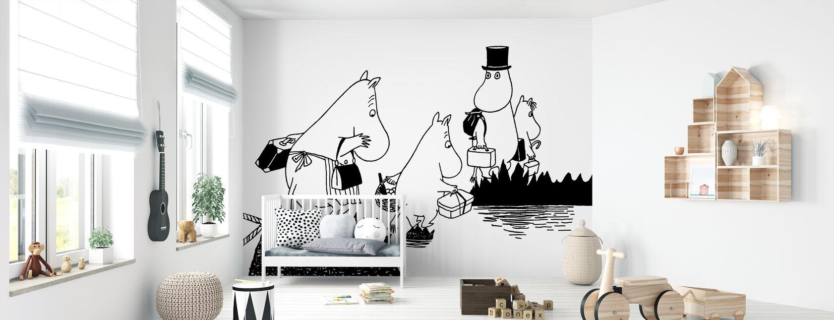 Moomin familie - Behang - Babykamer