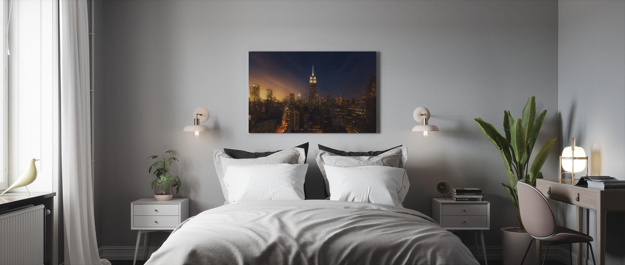 New Yorkin hehku - Canvastaulu - Makuuhuone