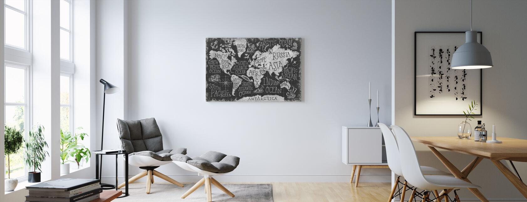 Mityczna mapa I, czarno-biała - Obraz na płótnie - Pokój dzienny