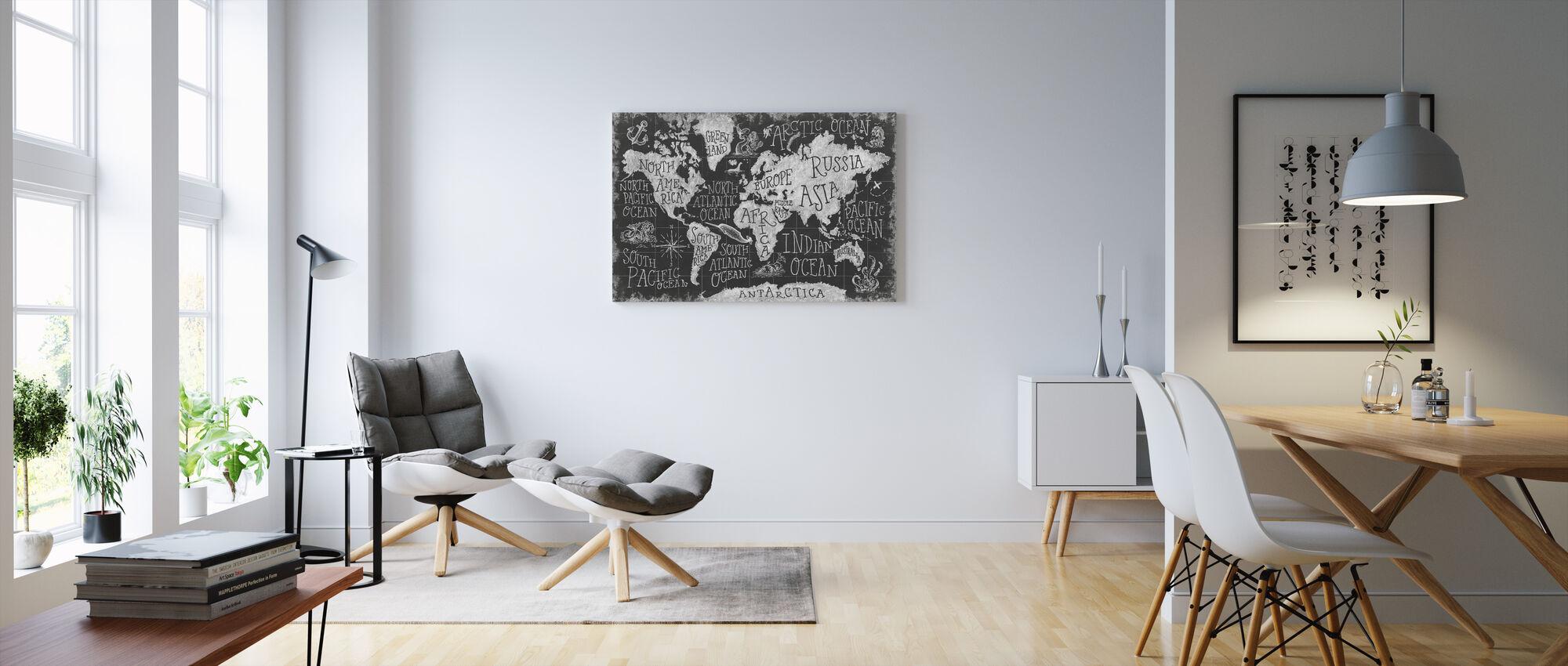 Mytisk kort I, sort og hvid - Billede på lærred - Stue