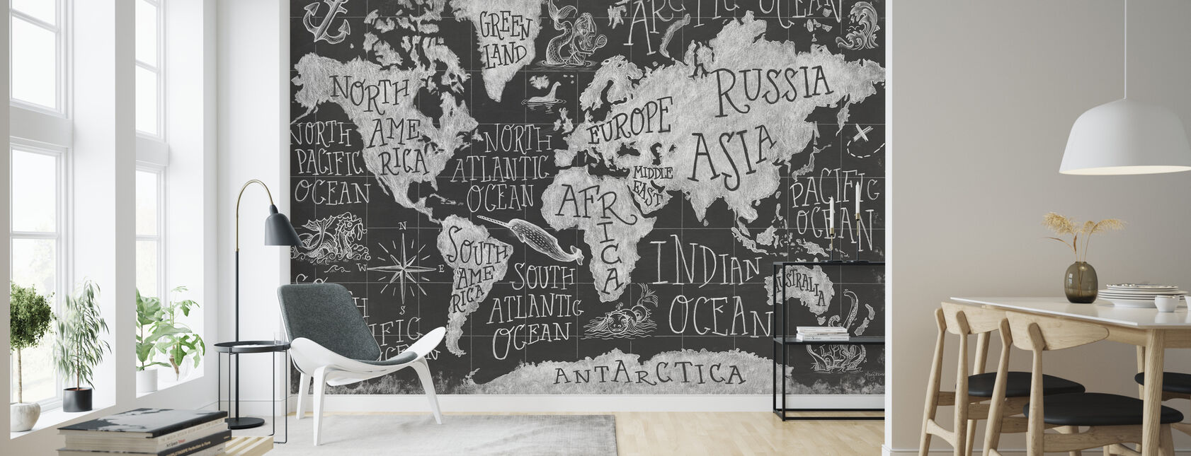 Mythical Map I, black and white - Wallpaper - Living Room