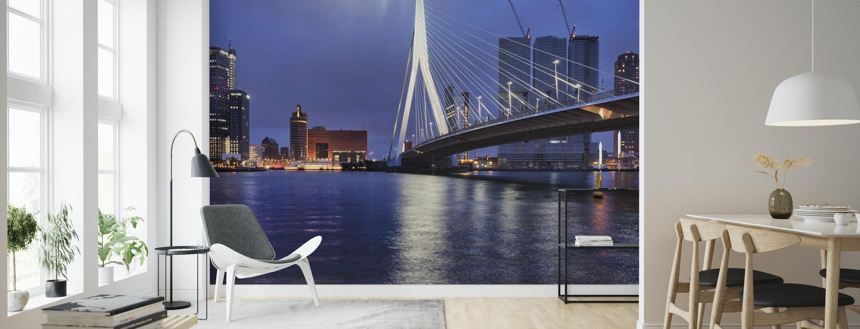 City of Rotterdam at Night - Wallpaper - Living Room