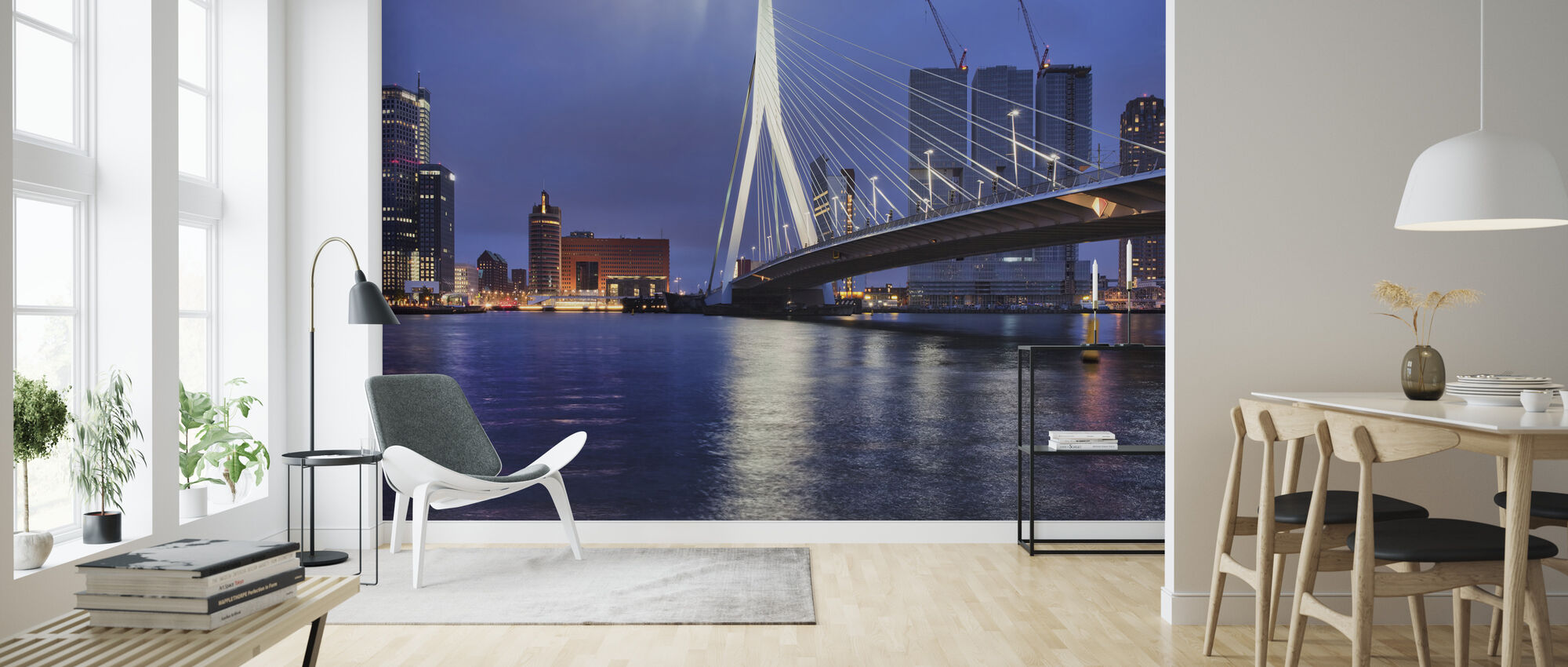 City of Rotterdam at Night - Wallpaper - Living Room