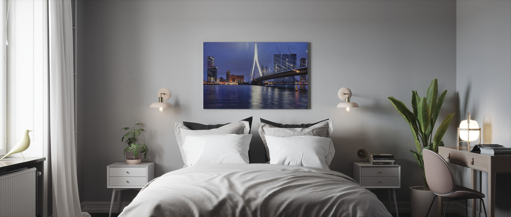 City of Rotterdam at Night - Canvas print - Bedroom
