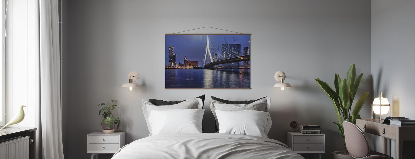 Stad Rotterdam bij Nacht - Poster - Slaapkamer