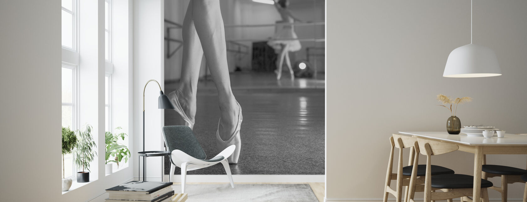 Prima Balerina czarno-biała - Tapeta - Pokój dzienny