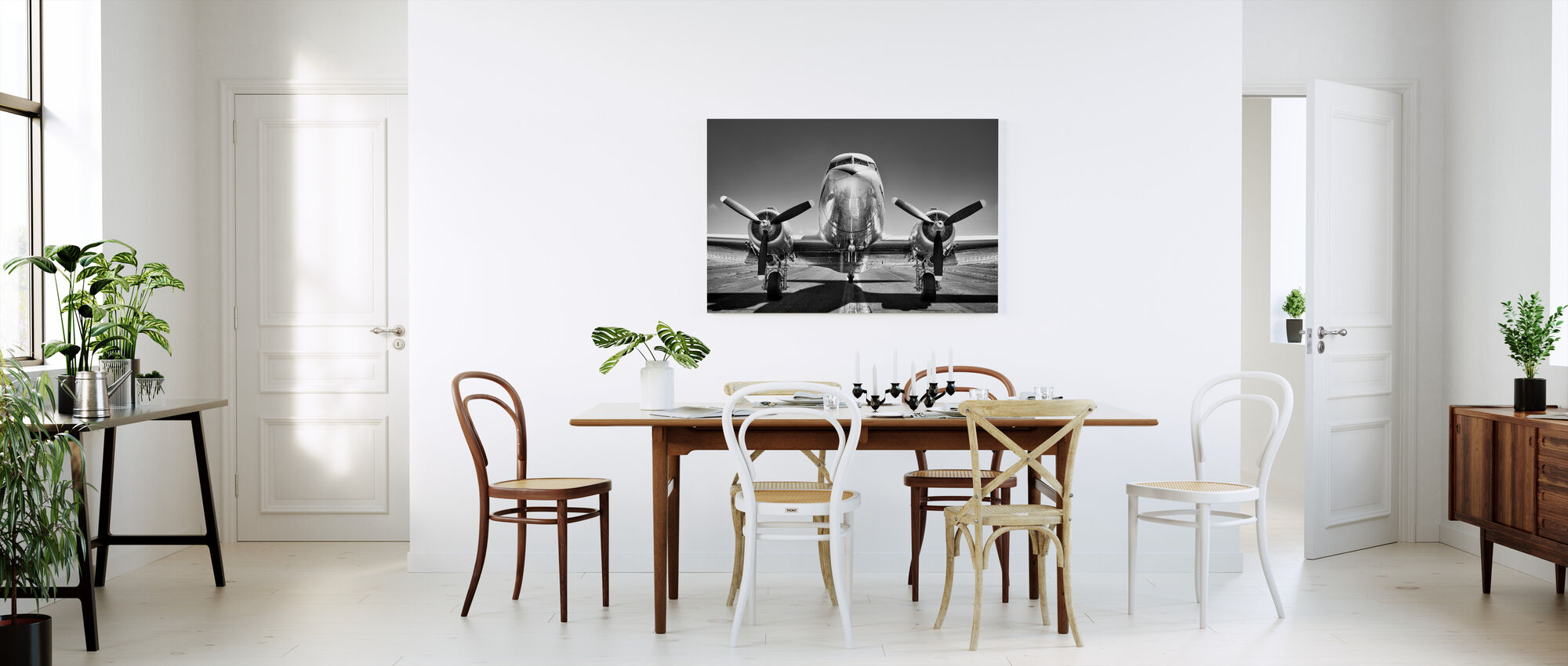 Vintage Airplane on a Runway, black and white - Canvas print - Kitchen