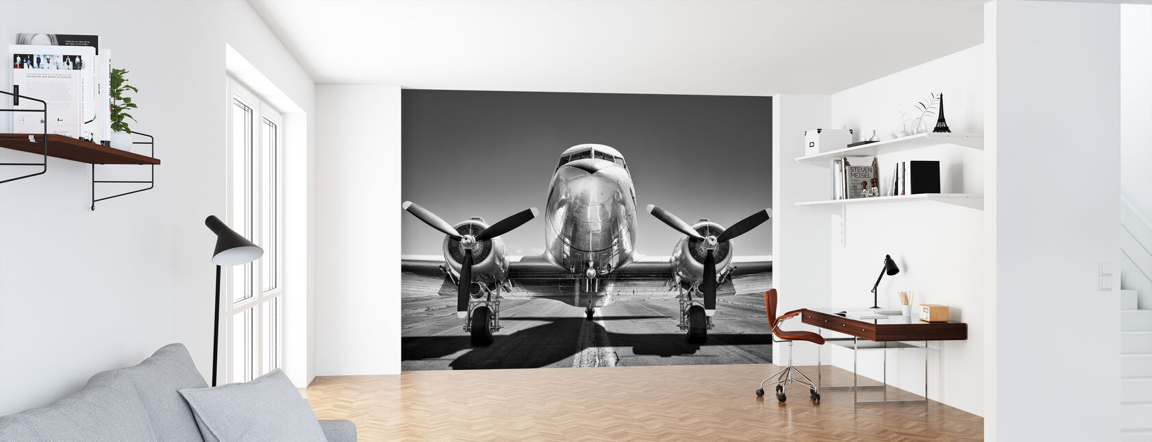 Vintage Airplane on a Runway, black and white - Wallpaper - Office