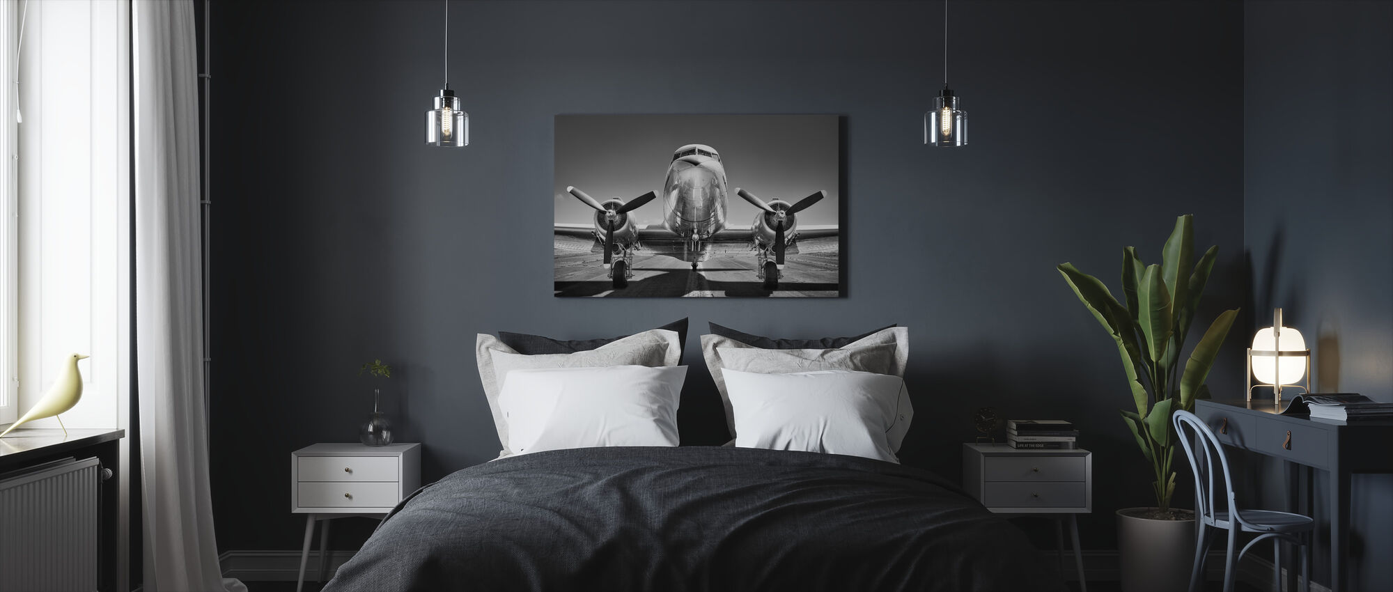 Vintage Airplane on a Runway, black and white - Canvas print - Bedroom