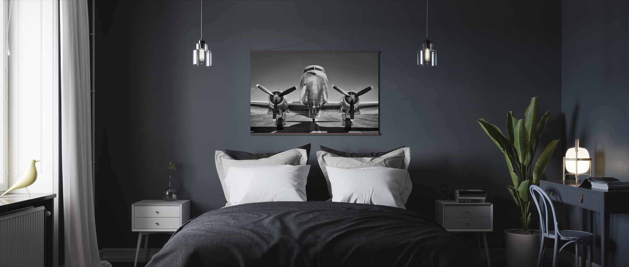 Vintage Airplane on a Runway, black and white - Poster - Bedroom