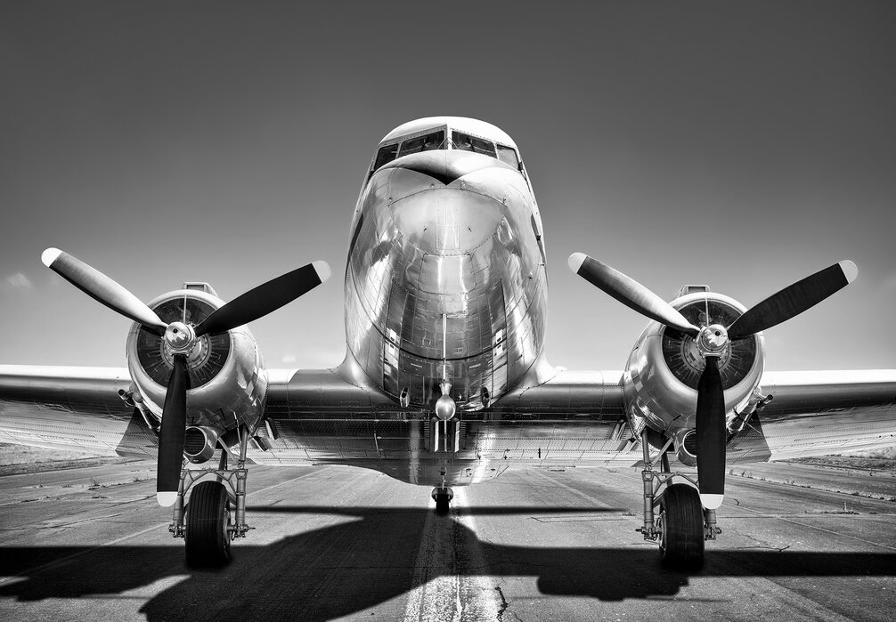 Vintage Airplane On A Runway Black And White Affordable