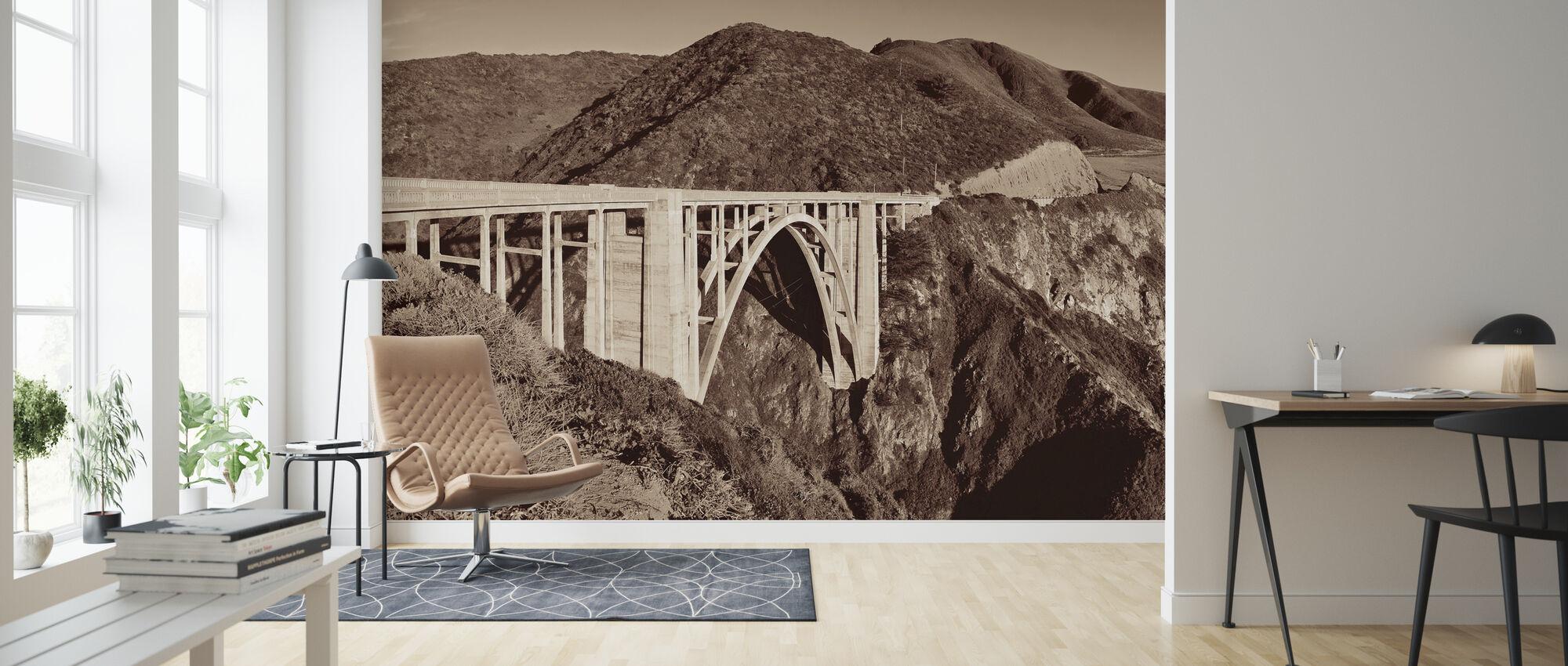 Bixy Bridge, Sepia - Wallpaper - Living Room