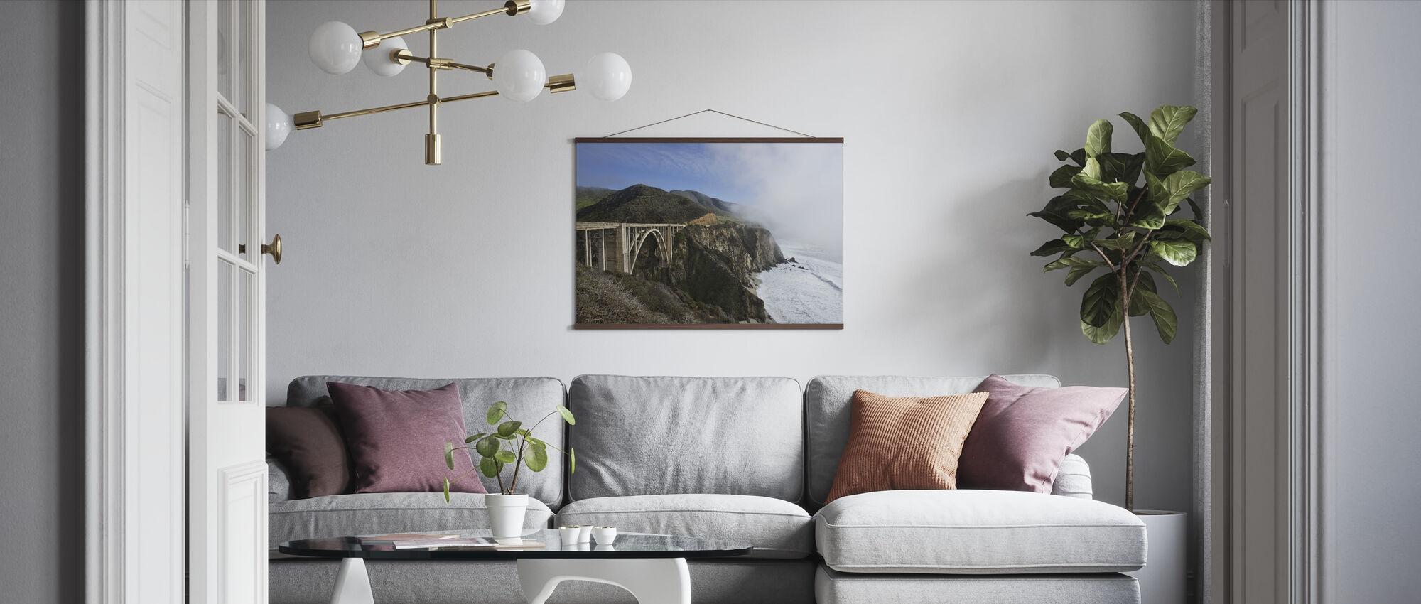 Californian Waves at Bixby Bridge - Poster - Living Room