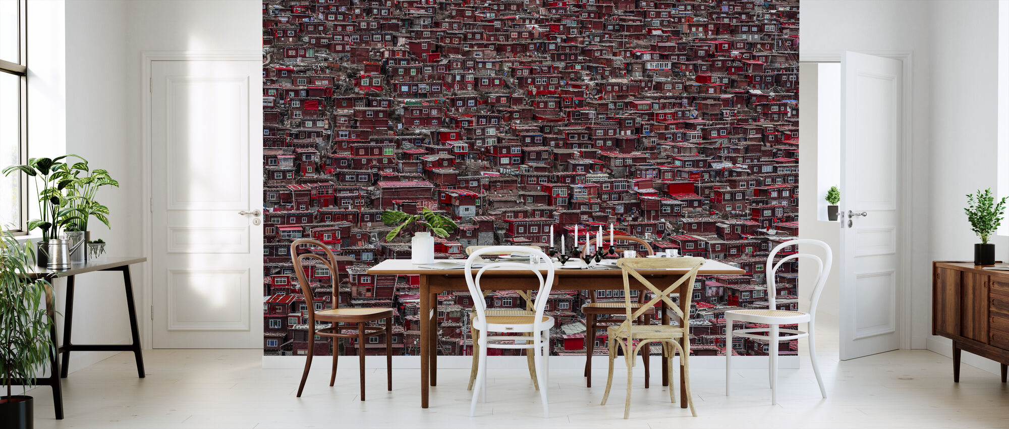 Red Houses - Wallpaper - Kitchen