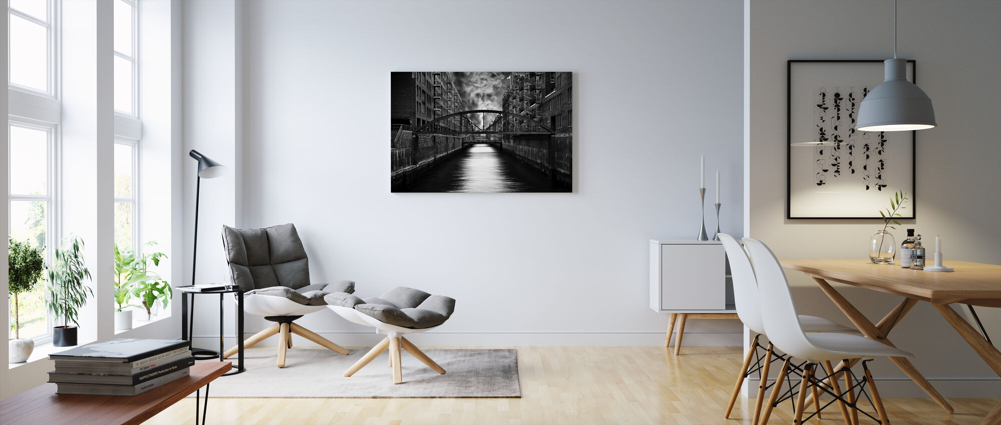 The other side of Hamburg, black and white - Canvas print - Living Room