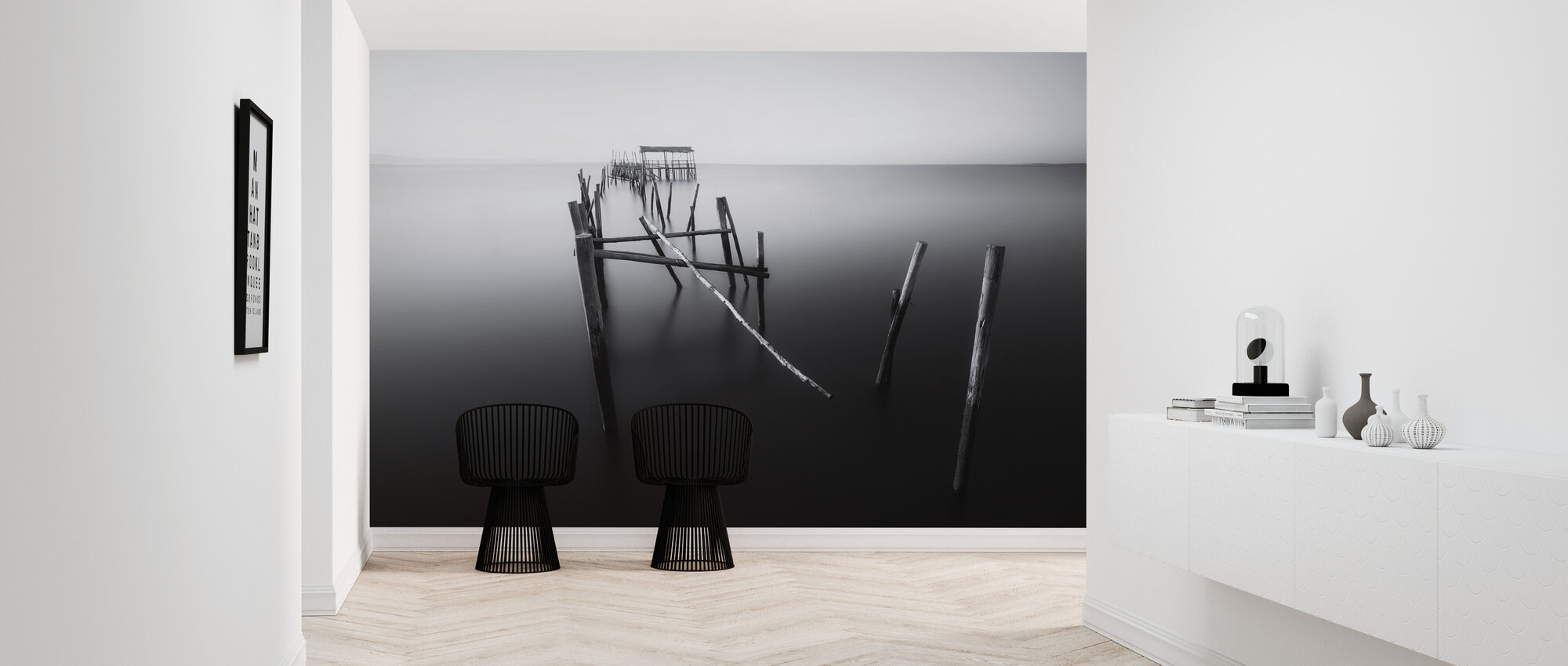 Carrasqueira, Floating Lands, black and white - Wallpaper - Hallway