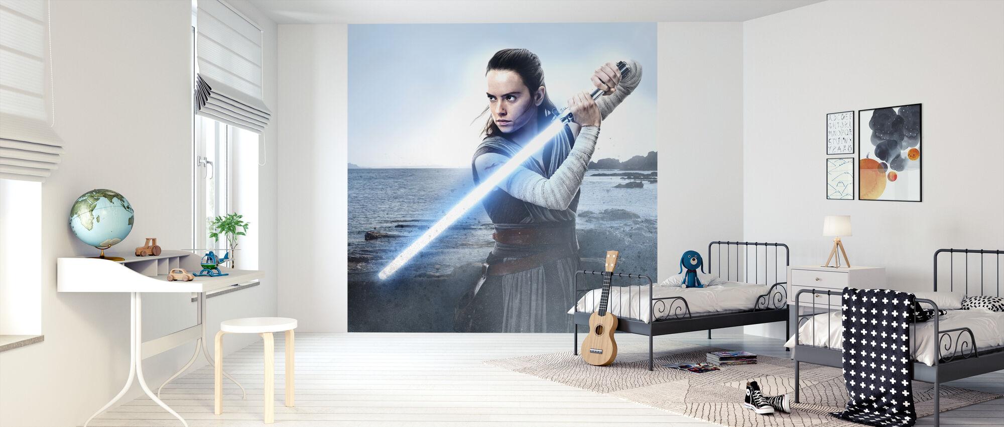 Star Wars - Rey kanssa Valonsaber - Tapetti - Lastenhuone