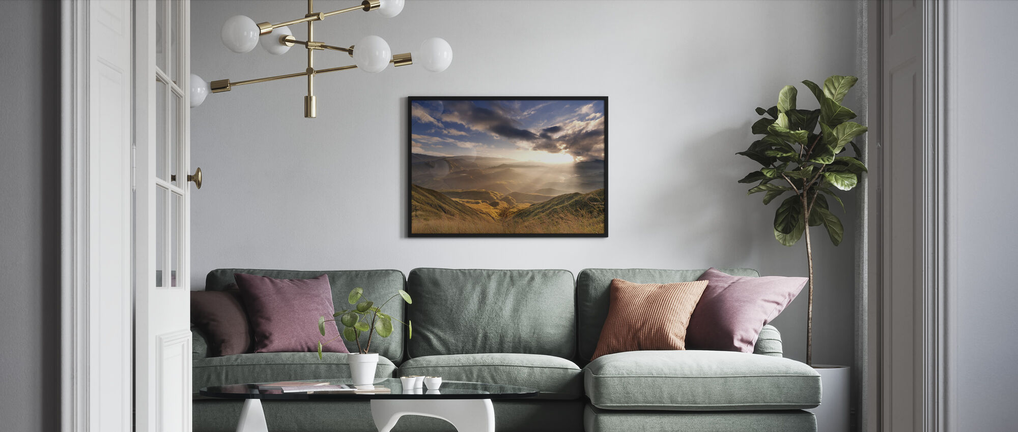 Sunrise Over Ridges - Framed print - Living Room