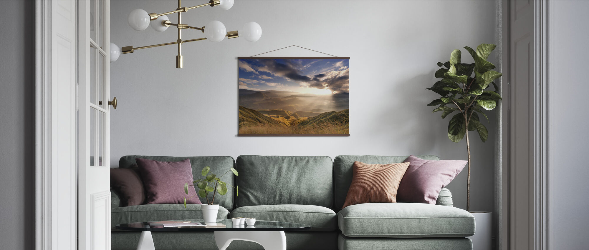 Sunrise Over Ridges - Poster - Living Room
