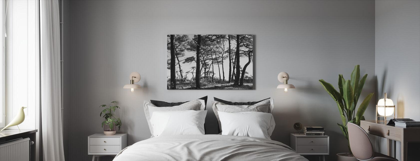 Zwarte dennenbos, zwart en wit - Canvas print - Slaapkamer