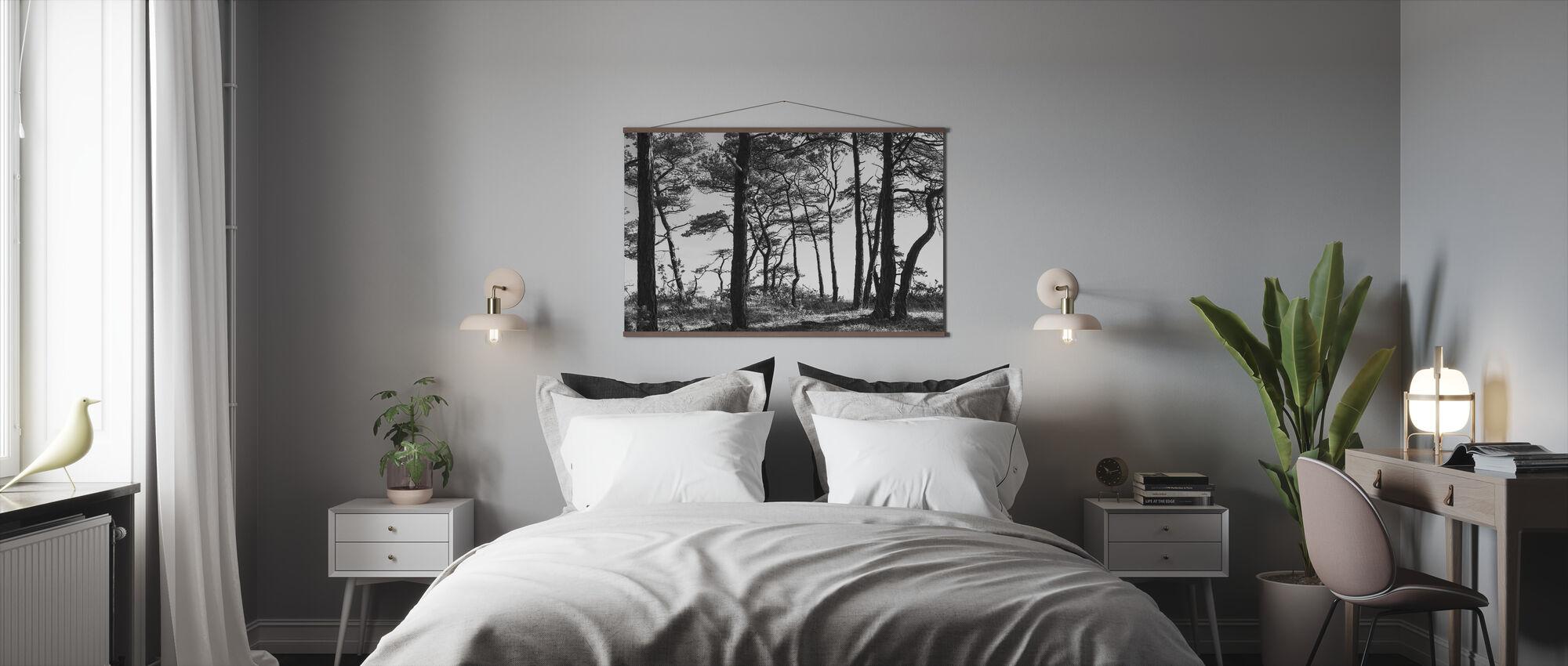Black Pine Forest, preto e branco - Póster - Dormitorio