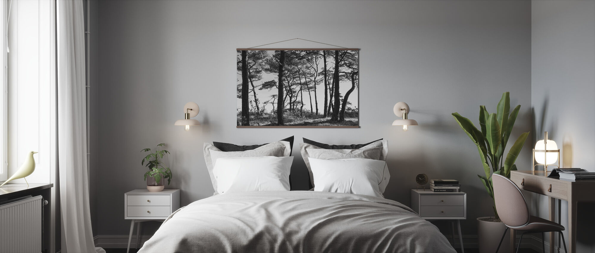 Zwarte dennenbos, zwart en wit - Poster - Slaapkamer