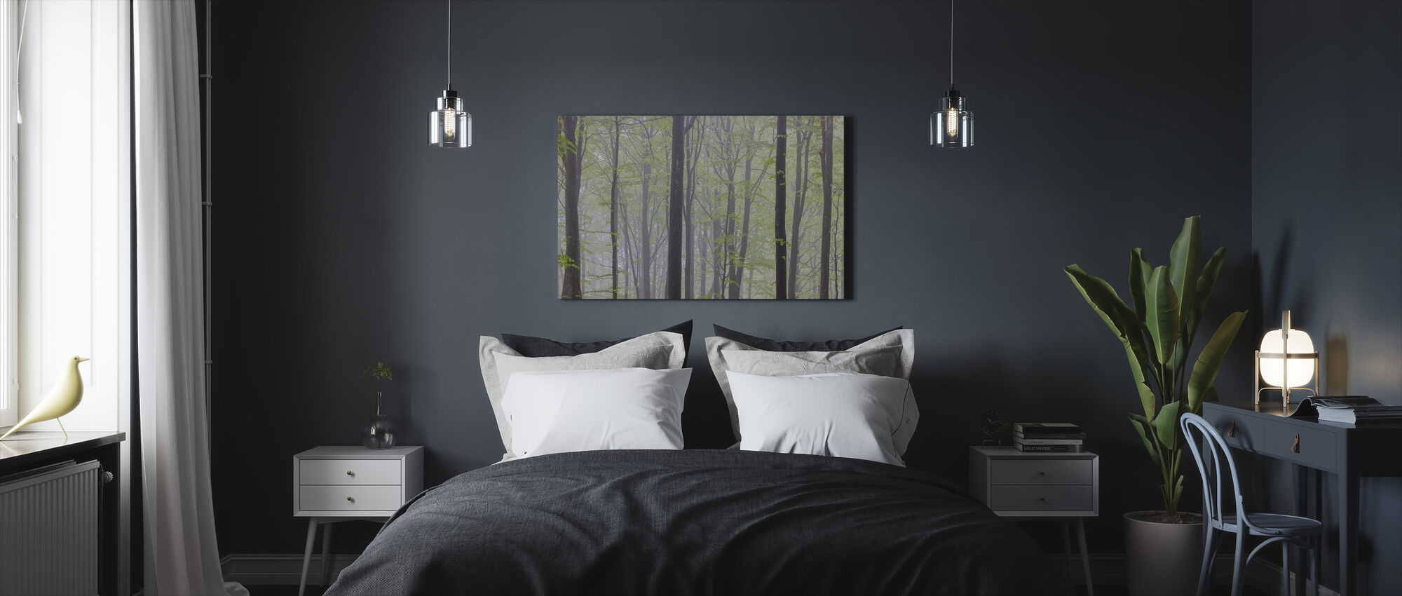Misty Beech Forest - Canvas print - Bedroom