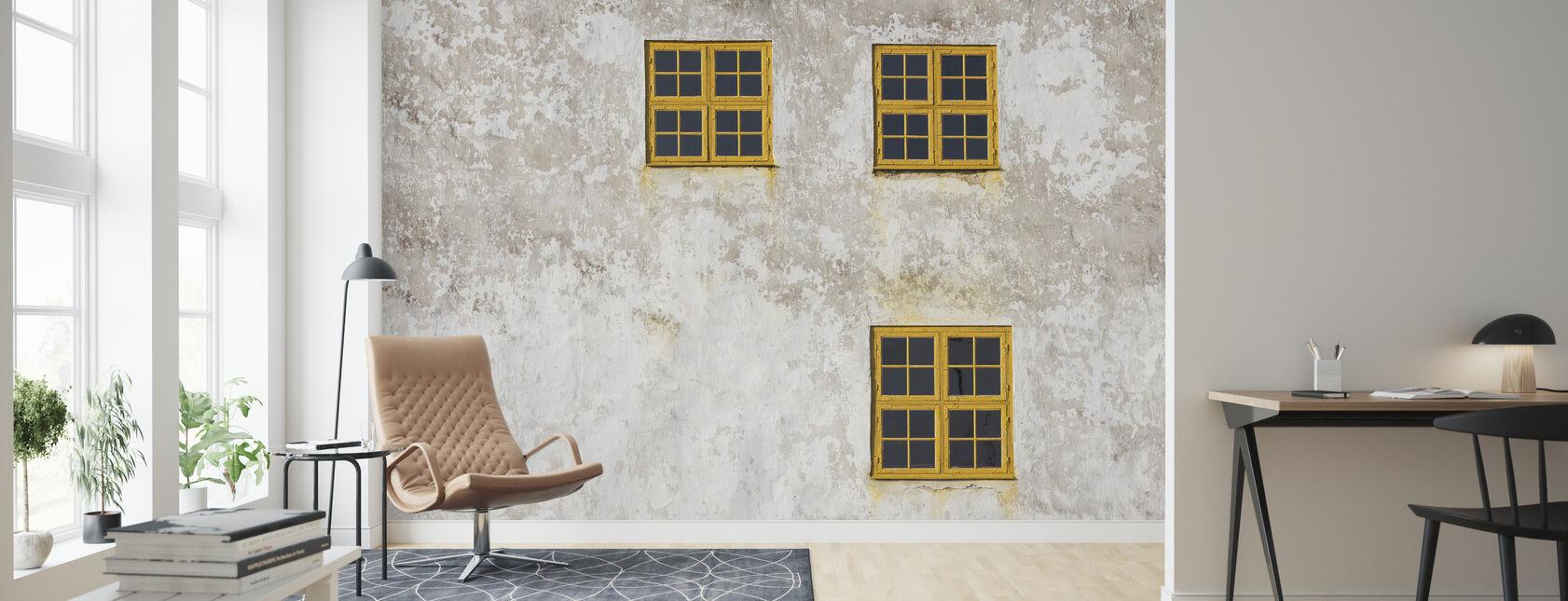 Vanha seinä ikkunoilla - Tapetti - Olohuone