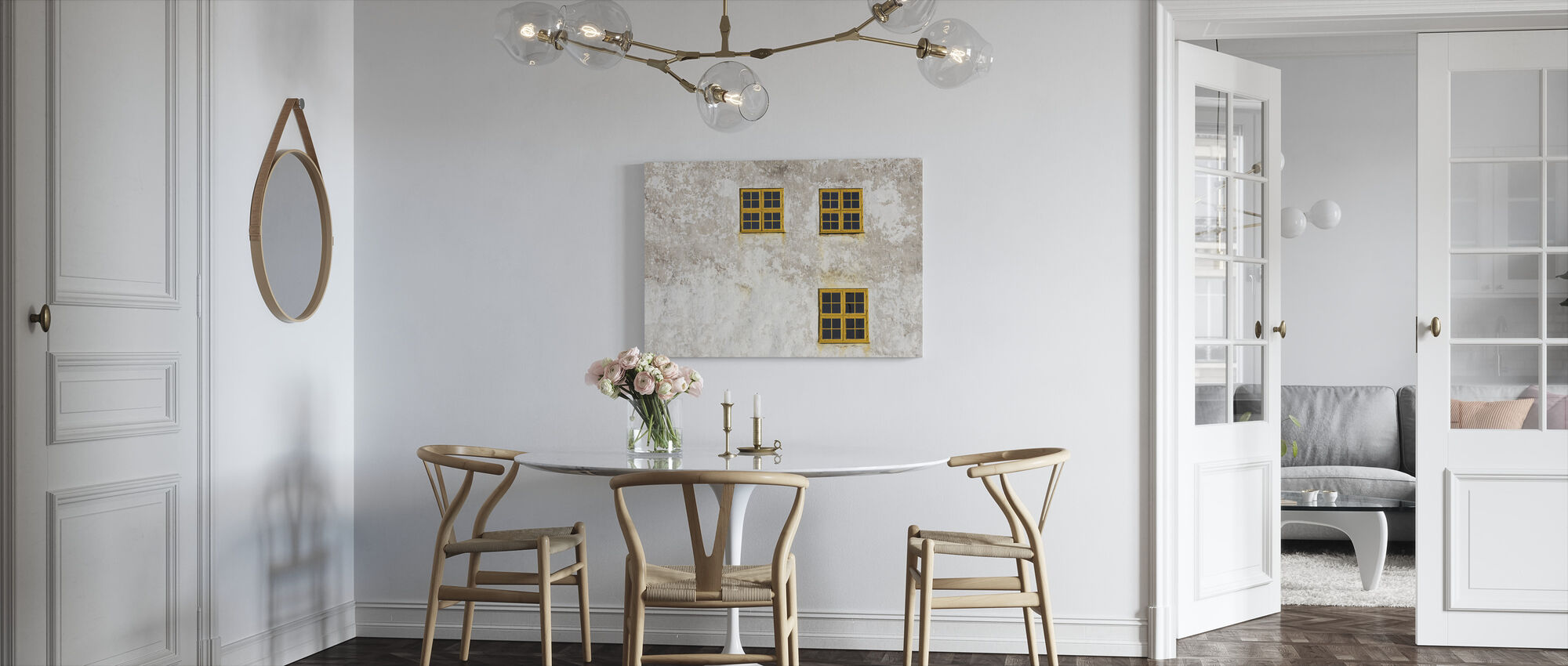 Old Wall with Windows - Canvas print - Kitchen