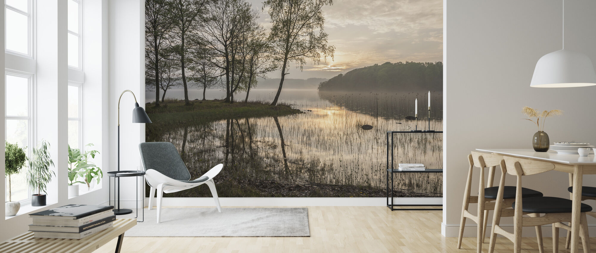 Sunset by the Lake - Wallpaper - Living Room