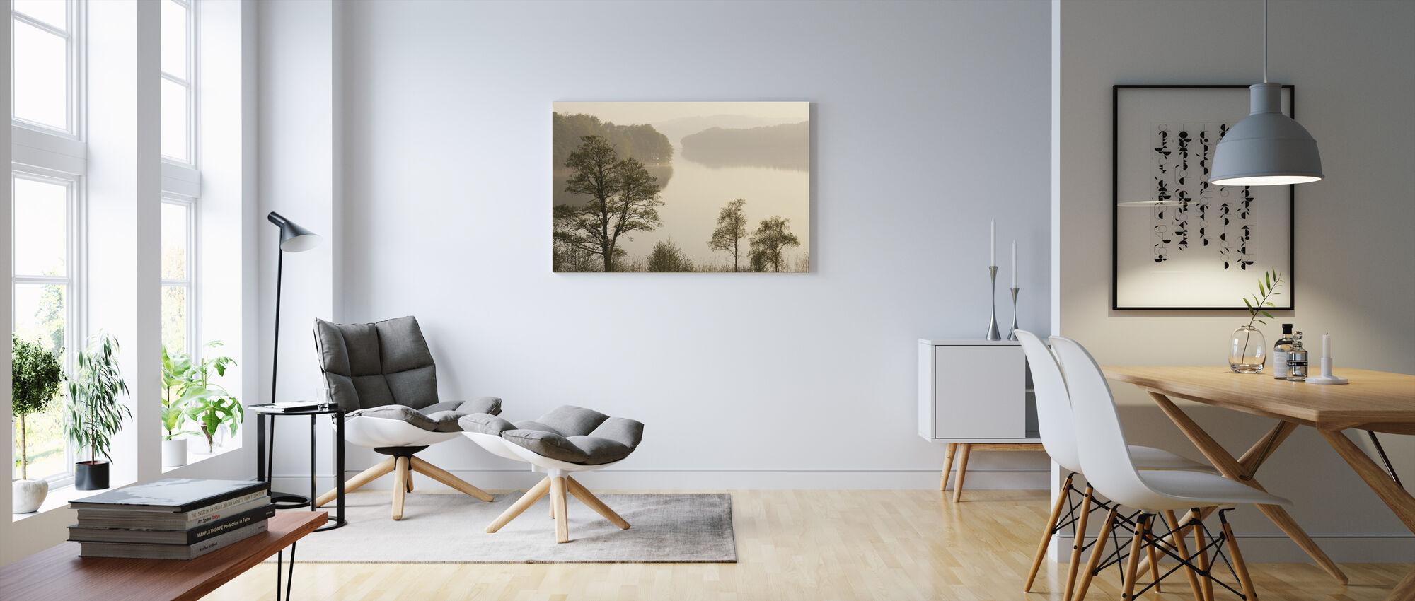 Swedish Misty Lake - Canvas print - Living Room