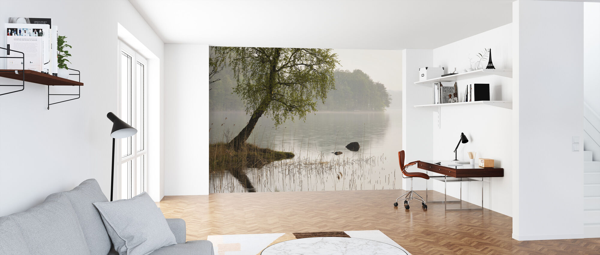 Tree at Swedish Lake - Wallpaper - Office