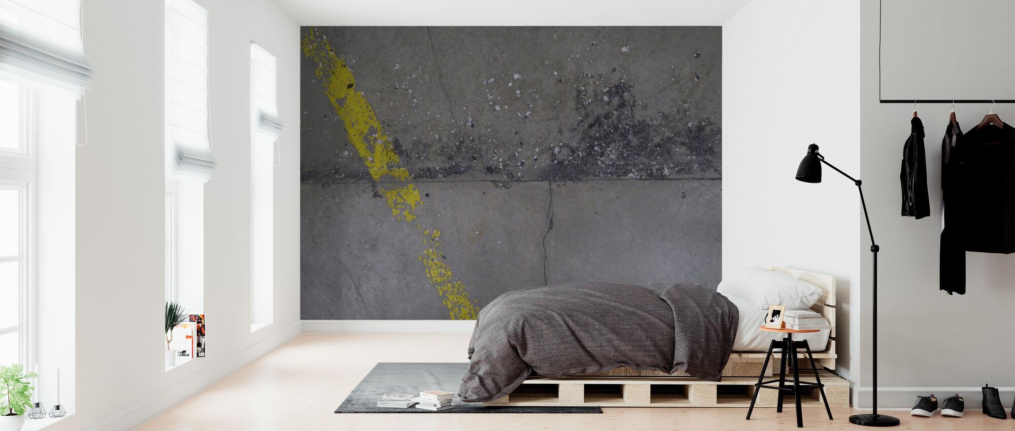 Betongulv på væg 1 - Tapet - Soveværelse