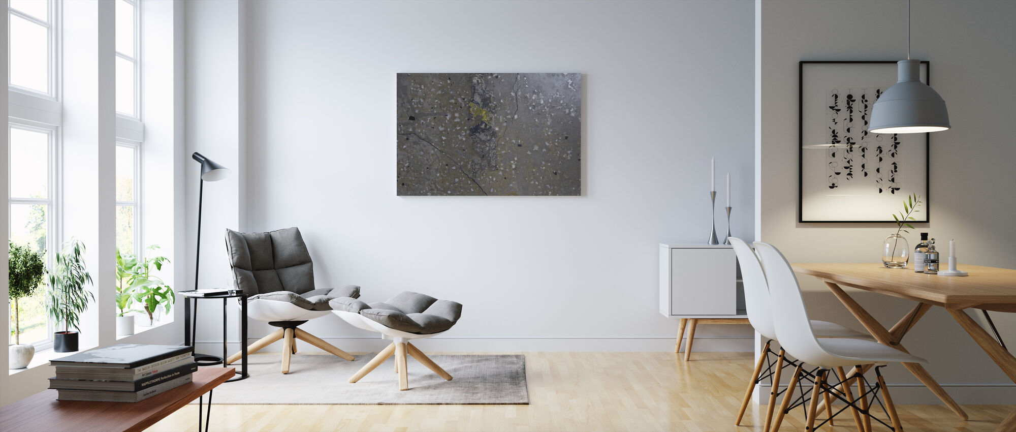 Concrete Floor on Wall 3 - Canvas print - Living Room
