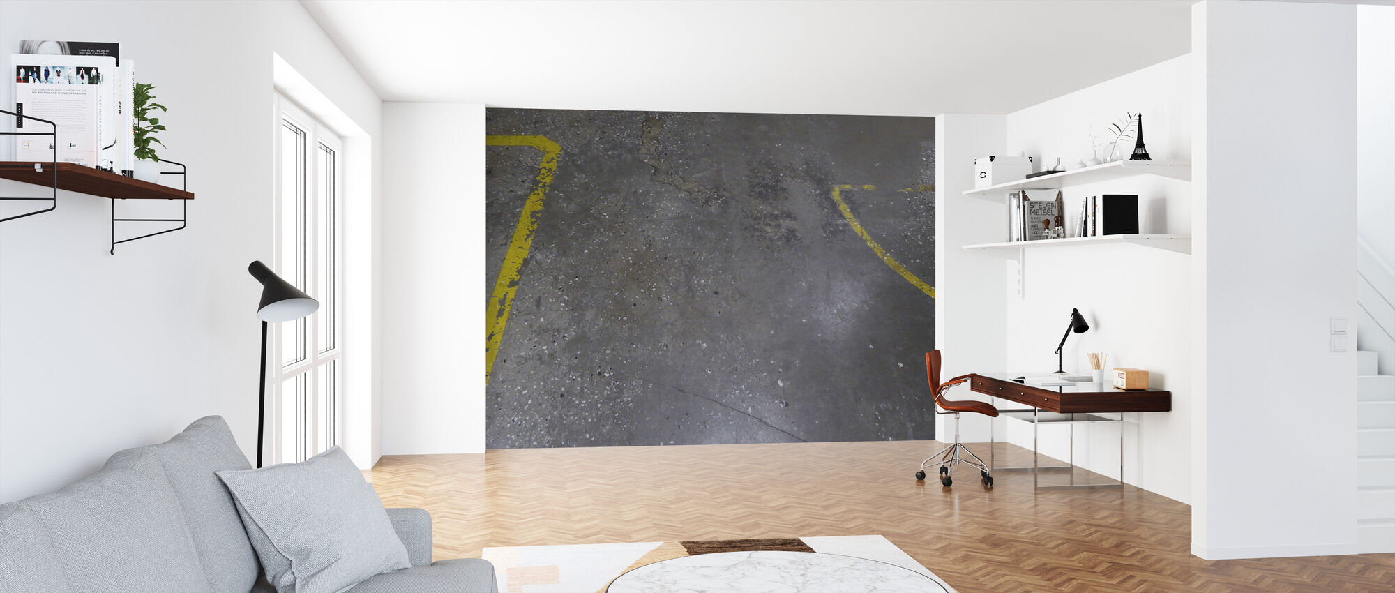 Concrete Floor on Wall 4 - Wallpaper - Office