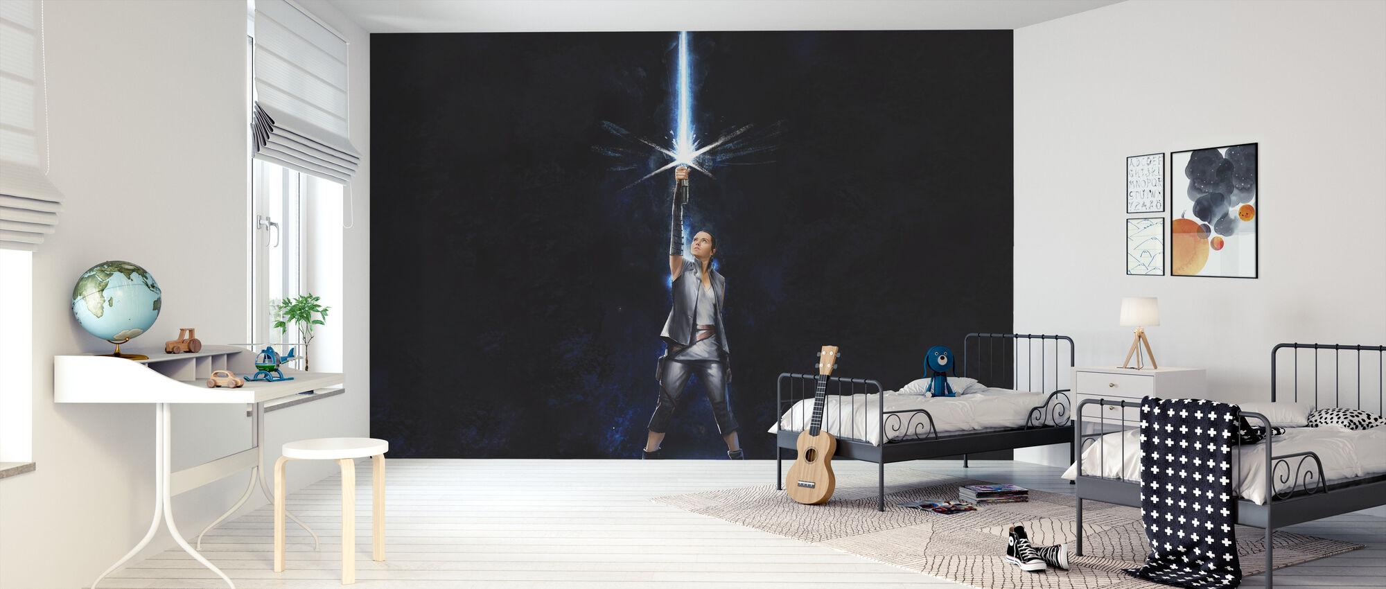 Star Wars - Rey med lyssaber - mørk - Tapet - Barnerom