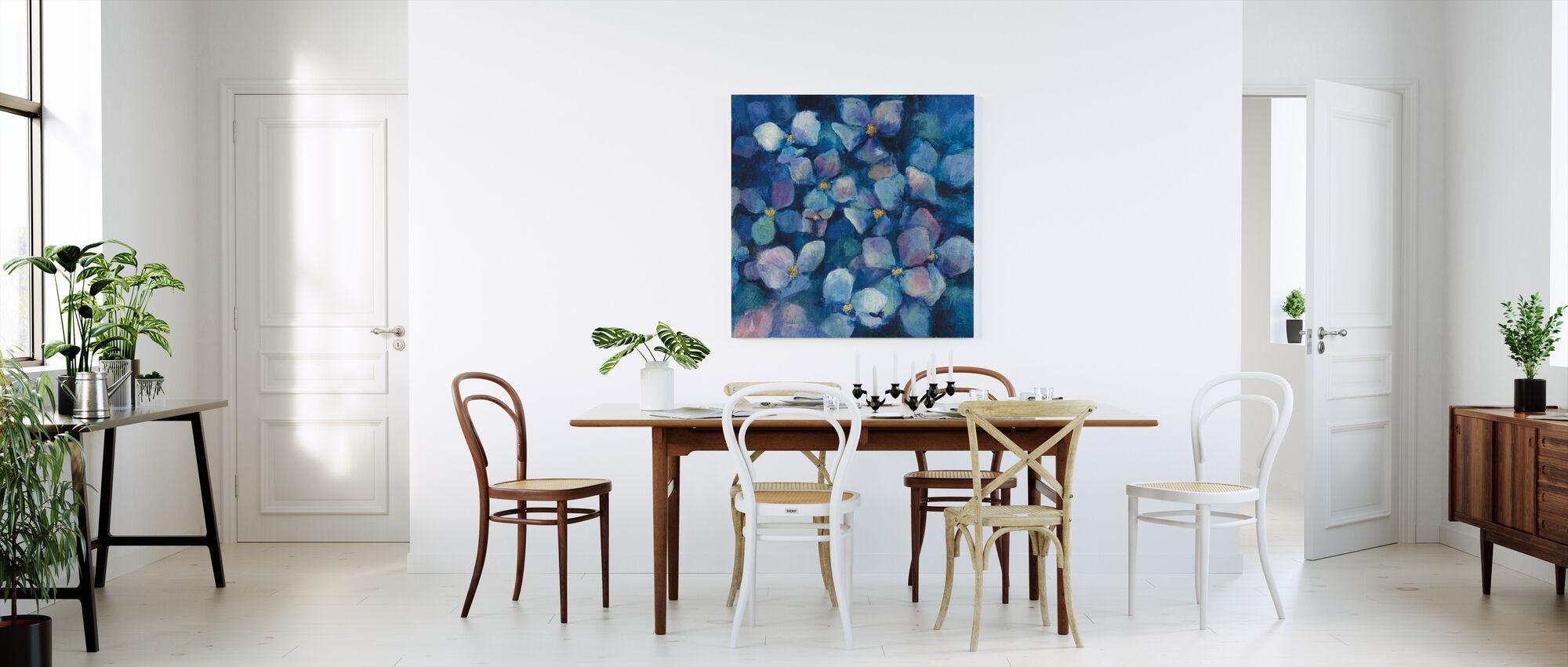 Midnight Blue Hydrangeas with Gold - Canvas print - Kitchen