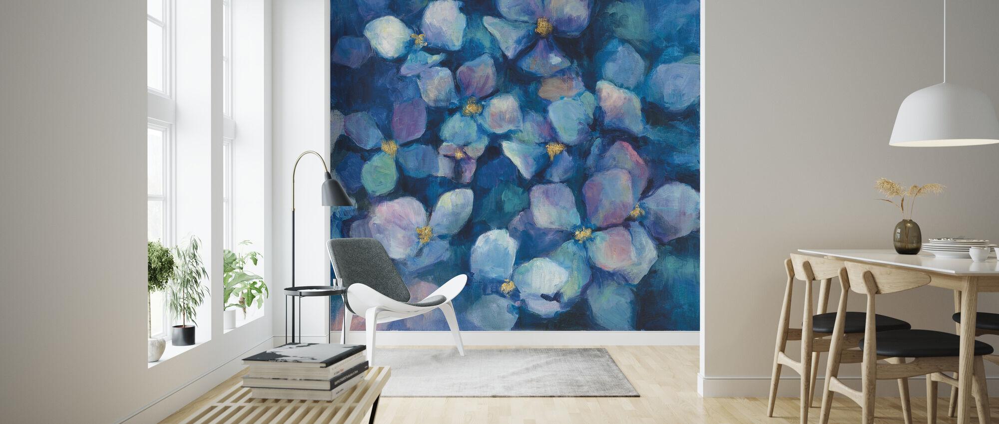 Midnattsblå hortensia med gull - Tapet - Stue