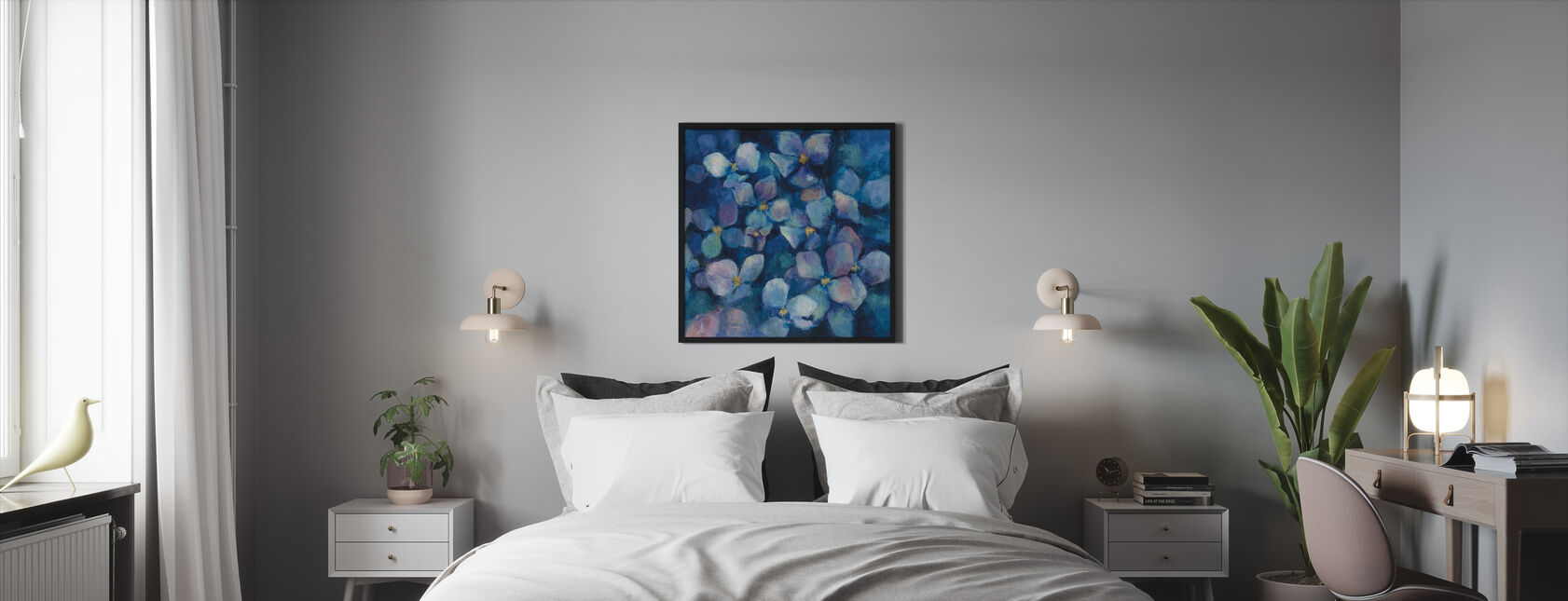 Midnight Blue Hydrangeas with Gold - Framed print - Bedroom