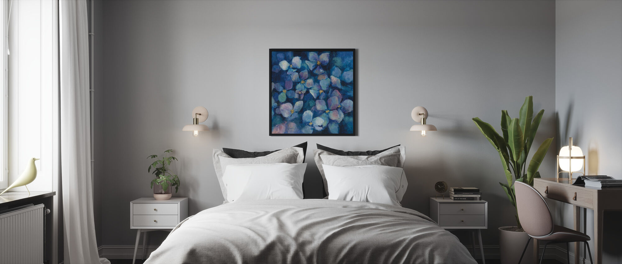 Midnight Blue Hydrangeas with Gold - Framed print - Bedroom