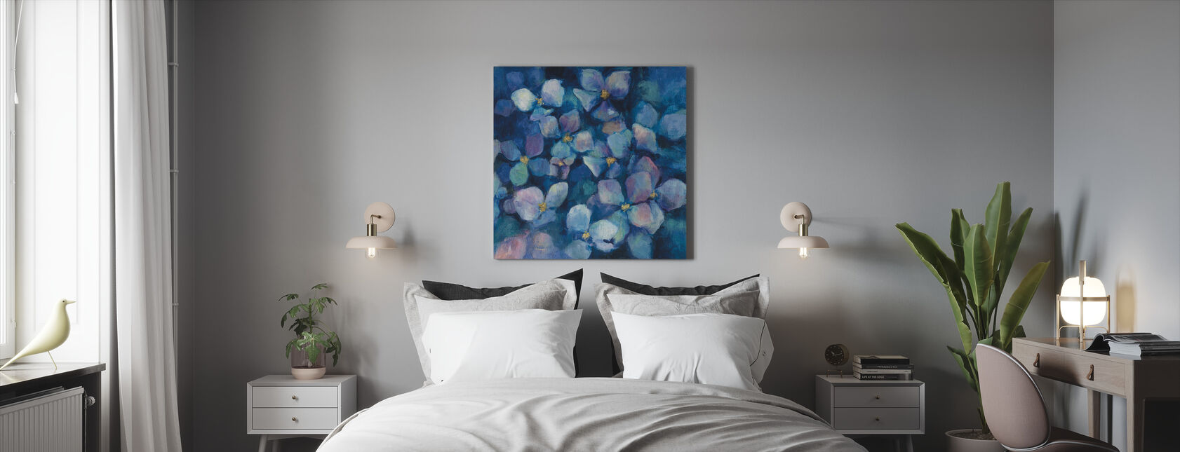 Midnight Blue Hydrangeas with Gold - Canvas print - Bedroom