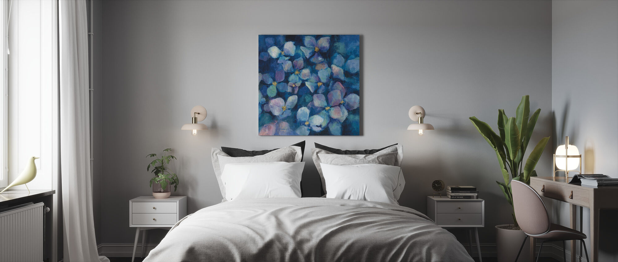 Midnight Blue Hortensien mit Gold - Leinwandbild - Schlafzimmer