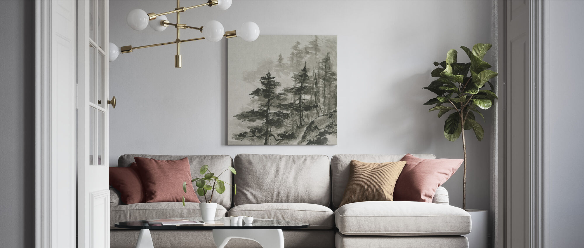 Sumi-boomtoppen - Canvas print - Woonkamer