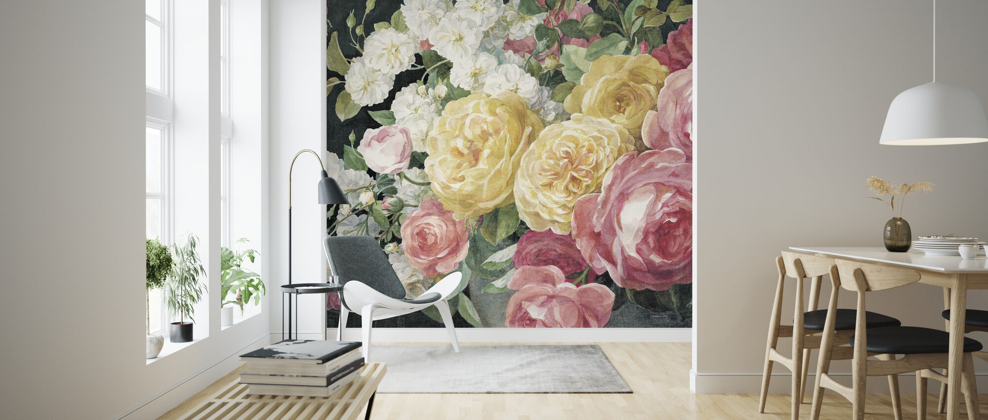 Antique Roses on Black - Wallpaper - Living Room